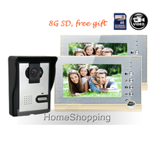 FREE SHIPPING BRAND NEW 7″ Color Video Door phone Kit + 2 Recording Screen + Night Vision Door Intercom Camera + 8G SD WHOLESALE