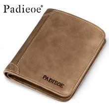 Padieoe Marke Top Kuh Echtes Leder Geldbörsen für Männer Casual Männlichen Brieftaschen Vintage Organizer Geldbörse Brieftasche Reißverschluss Münzfach