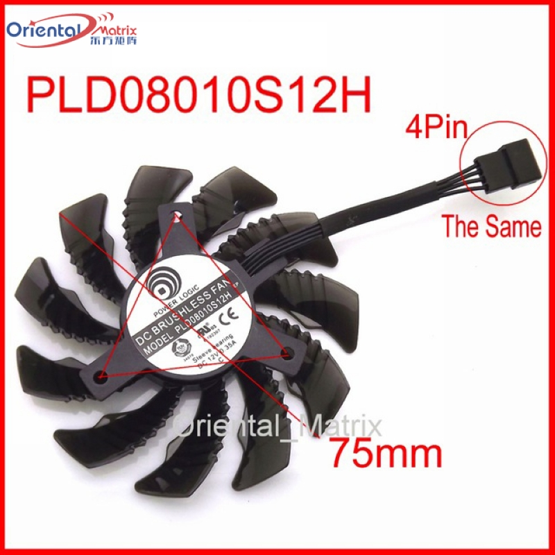 Free Shipping PLD08010S12H PLD08010S12HH 12V 0.25A 75mm For Gigabyte Graphics Card Cooling Fan 4Pin new original graphics card cooling fan for gigabyte gtx770 4gb gv n770oc 4gb 6 heat pipe copper base