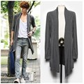 2016 new summer men's in the long thin cardigan Korean male cloak coat of non mainstream