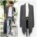 2016 nuevo verano de los hombres en la larga y delgada capa Coreana chaqueta de punto masculino no convencionales