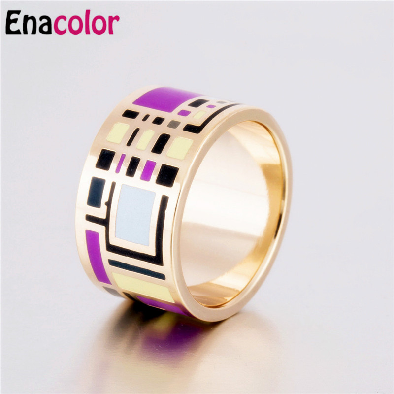 Enacolor Ethnic Rings Geometry Purple Enamel Ring ...
