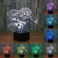 Super Star Hatsune Miku Mode 3d Illusion Night Light Led Flashlight 7 Colors Change Nightlight Beautiful