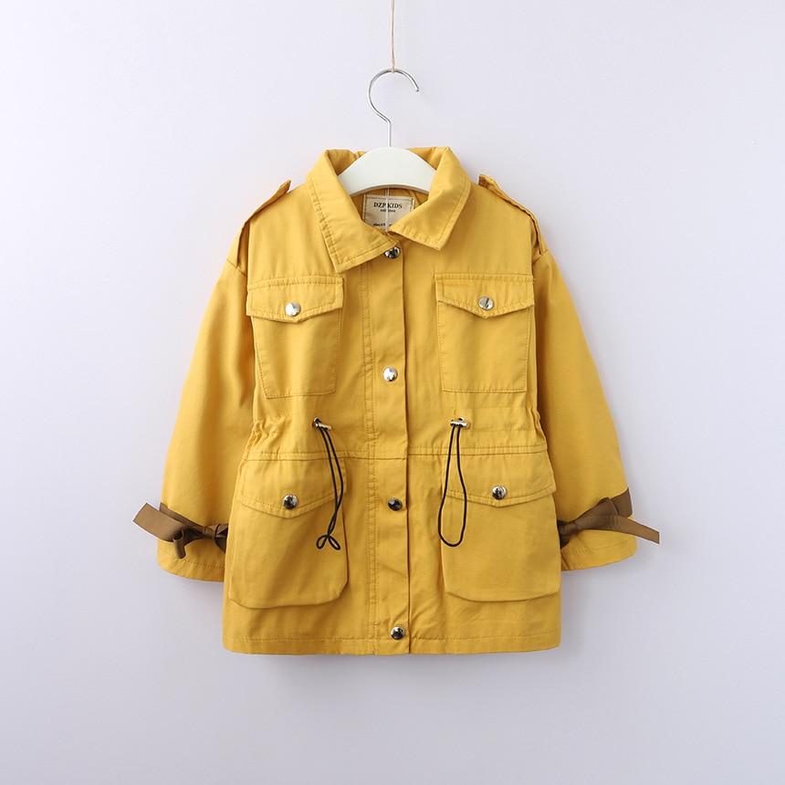 Autumn Girls Windbreaker Coat Bow Tie Patchwork Sleeve Design Coats Jacket For Girl Waist Drawstring Kids Clothes Outerwear 2 8T