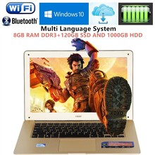1920*1080P FHD 8GB RAM+120GB SSD+1000GB HDD 14.1inch laptop windows7/10 PC Computer In-tel J1900 2.0GHZ Quad Core Slim Ultrabook
