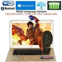 1920 1080P FHD 8GB RAM 120GB SSD 1000GB HDD 14 1inch laptop windows10 PC Computer Intel