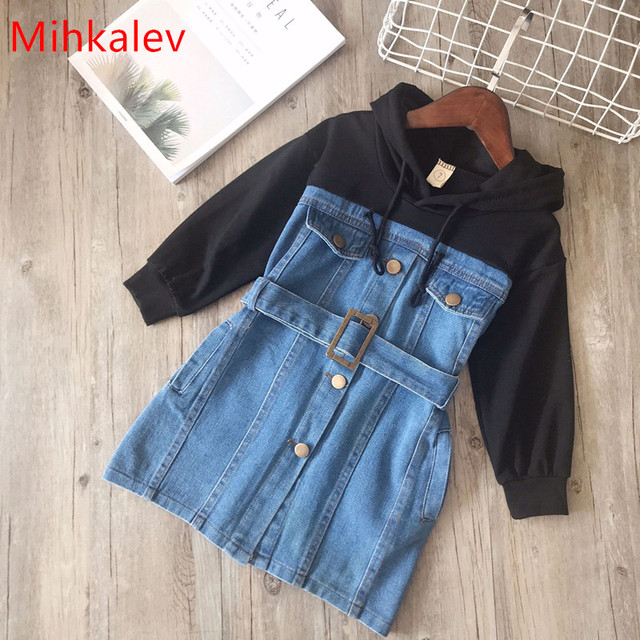 Mihkalev baby dress for girl long sleeve dress withe sahes 2019 spring children hoodies jeans dresses kids leisure clothing