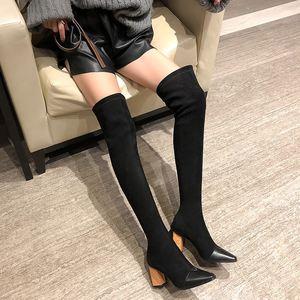 Image 4 - MORAZORA 2020 جديد بوط من الجلد الطبيعي الجلد المدبوغ سميكة عالية الكعب فوق الركبة أحذية النساء أشار تو تمتد الفخذ أحذية عالية