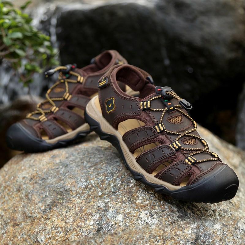 ROMMEDAL Sandal Sneaker Toe-Footwear Anti-Slip Waterproofe Genuine-Cow-Leather Summer