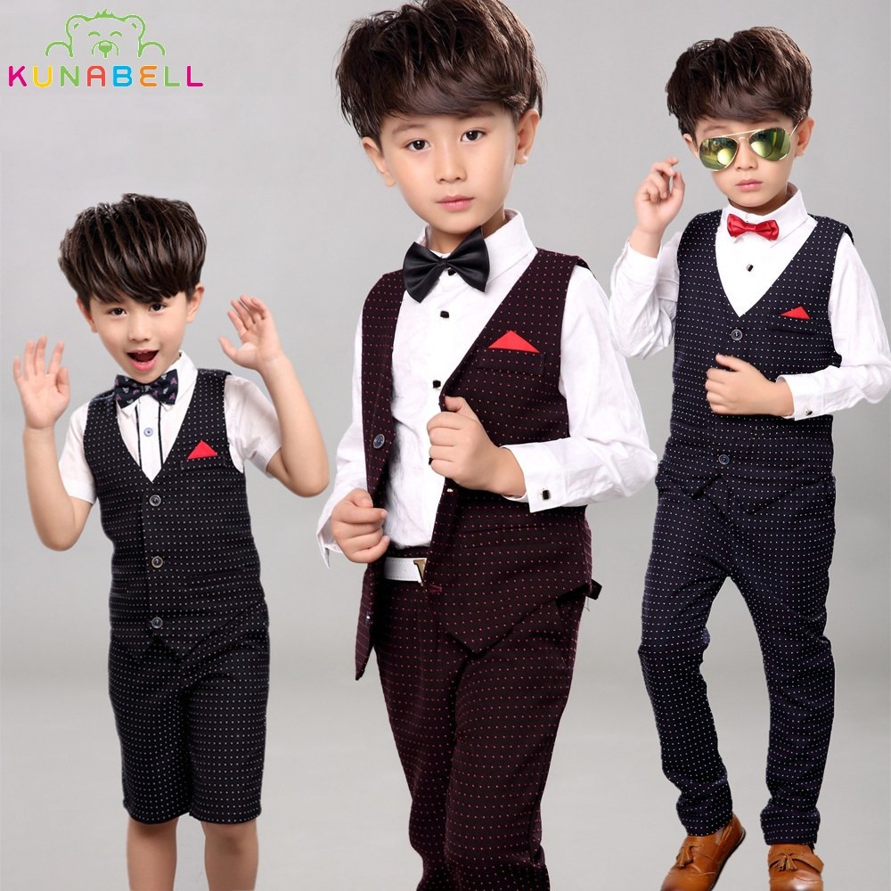 Baby Boys Brand Birthday Waistcoat Formal Suit Gentleman Children Kids Tuxedo Blazer Wedding Party Shirt Vest Pant F8
