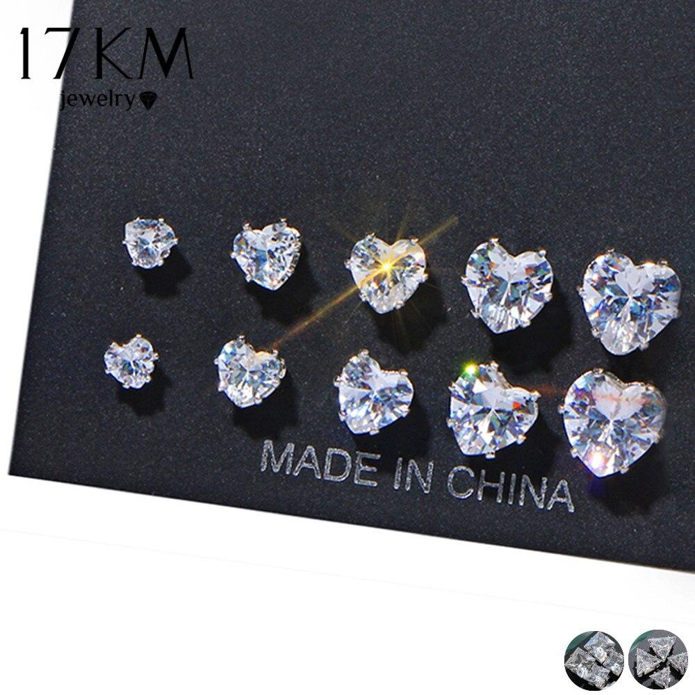17KM 2018 New Geometric Cubic Zirconia Stud Earrings Set For Woman Fashion Heart Triangle Earring Statement Party Jewelry