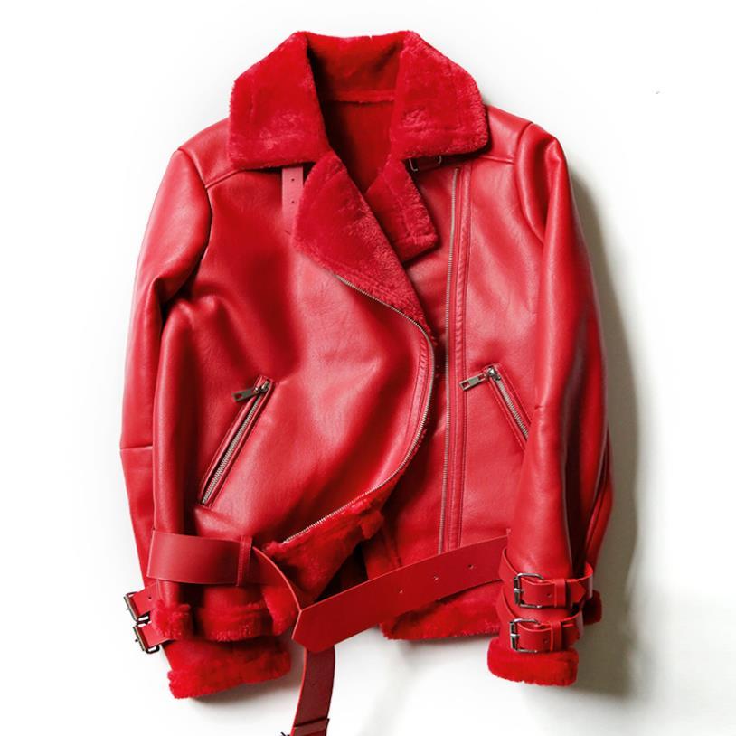 Manteau En Mode Femelle Rue Style Chaud red Marque Pu De Fourrure green Velours Thikcer Col Lambwool Black Veste Wq423 Cuir Faux ywPNnOvm80