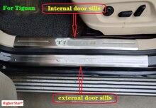 Stainless steel 8pcs(4 internal+4 external)door sills scuff plate,guard plate,protection petal sticker for Tiguan 2009-2015