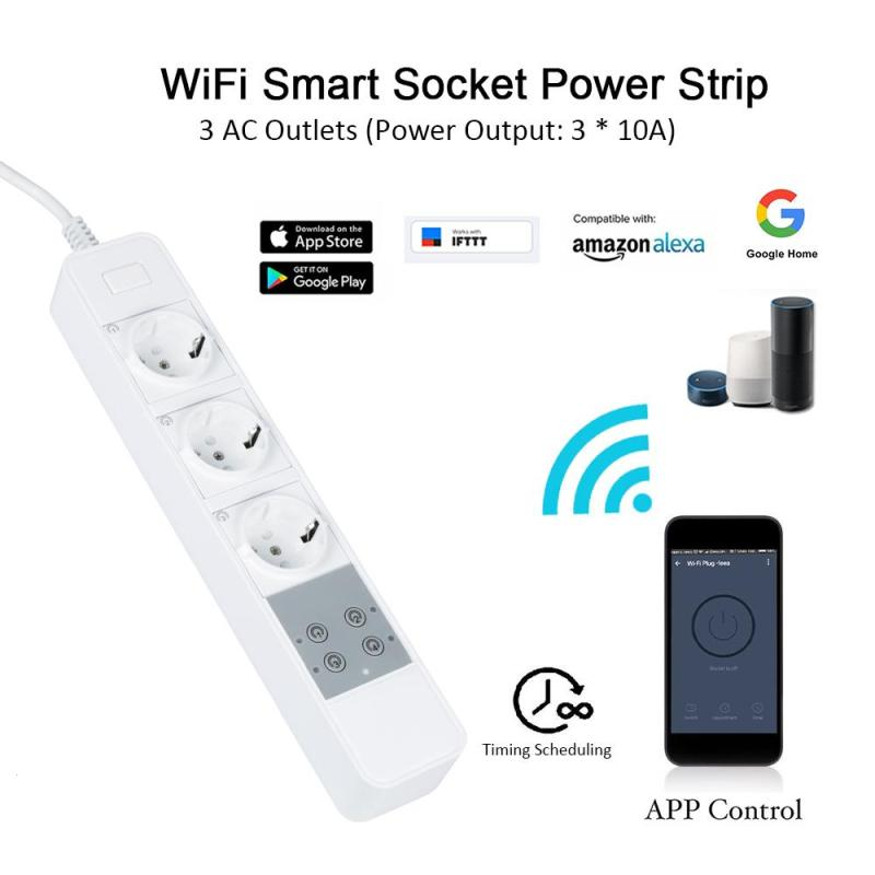 NEW Smart WIFI Power Strip Socket Supported Port /EU/UK Plug Overload Protection with APP Control smart switch