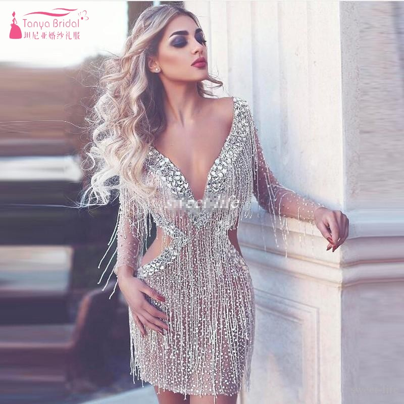 2019 New Beading Sequin Tassel Deep V Neck Backless Open Bust Sexy Mini   Cocktail     Dresses   Simple Party Homecoming   Dresses   JQ553