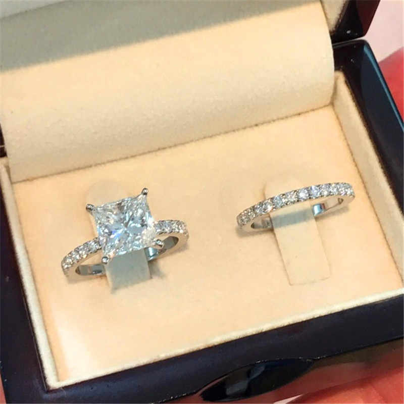 Luxury Female Small Crystal Ring Set Cute Silver Color Engagement Ring Vintage Love Wedding Rings For Women