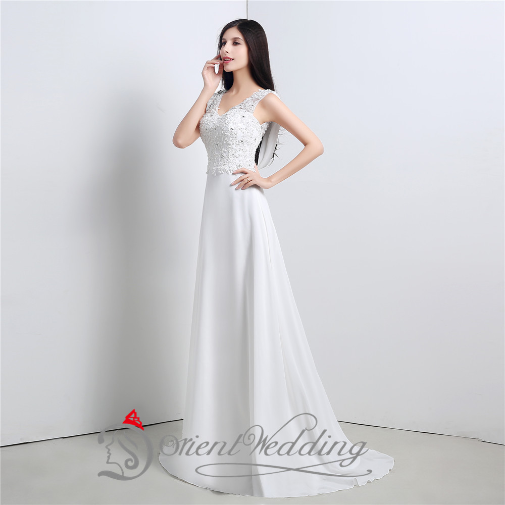 Aliexpress Buy Simple Cheap Wedding Dresses Under 100 V Neck Beaded Top Bridal Gown Long Chiffon Beach Dress 2015 From Reliable Kim
