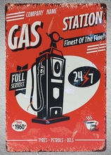 1 pc Gas station  Full service mechanic on duty oil petrol Tin Plate Sign plaques Man cave vintage Shop store metal poster