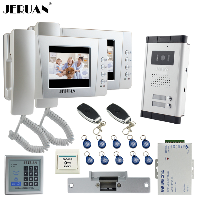 JERUAN Apartment 4.3`` Video Door Phone Intercom System kit 2 Monitor HD Camera RFID Entry Access Control 2 Remote Control
