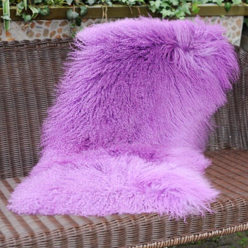 CX-D-24M Solid Mongolian Lamb Fur Blankets Great Quality Warm Carpet