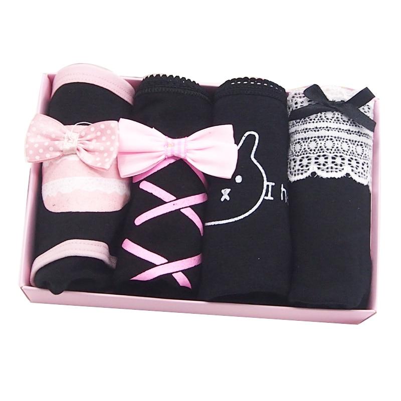 NEWEST Ladies   Panties   Women's Underwear 4 Pieces Cotton Fabric Black Cute Cartoon Lace Student Sexy Briefs Bow Print   Panty   4pcs