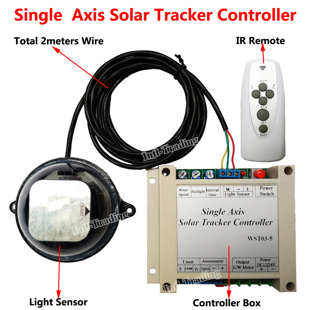 Complete Single Axis Electronic Solar Tracker Tracking Controller Light Sensor IR Remote for 100W Watt PV