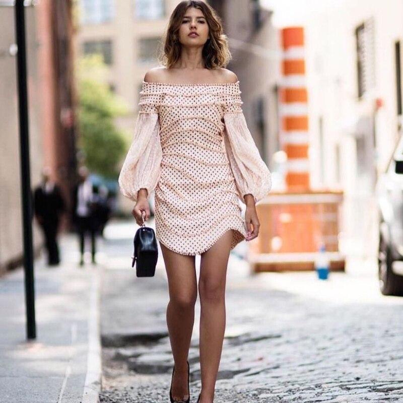 2018 jesień New Arrival kobiety Mini sukienka luksusowe Runway projektant marki czarny fala Dot Slash Neck latarnia rękaw kobieta krótkie sukienka w Suknie od Odzież damska na  Grupa 1