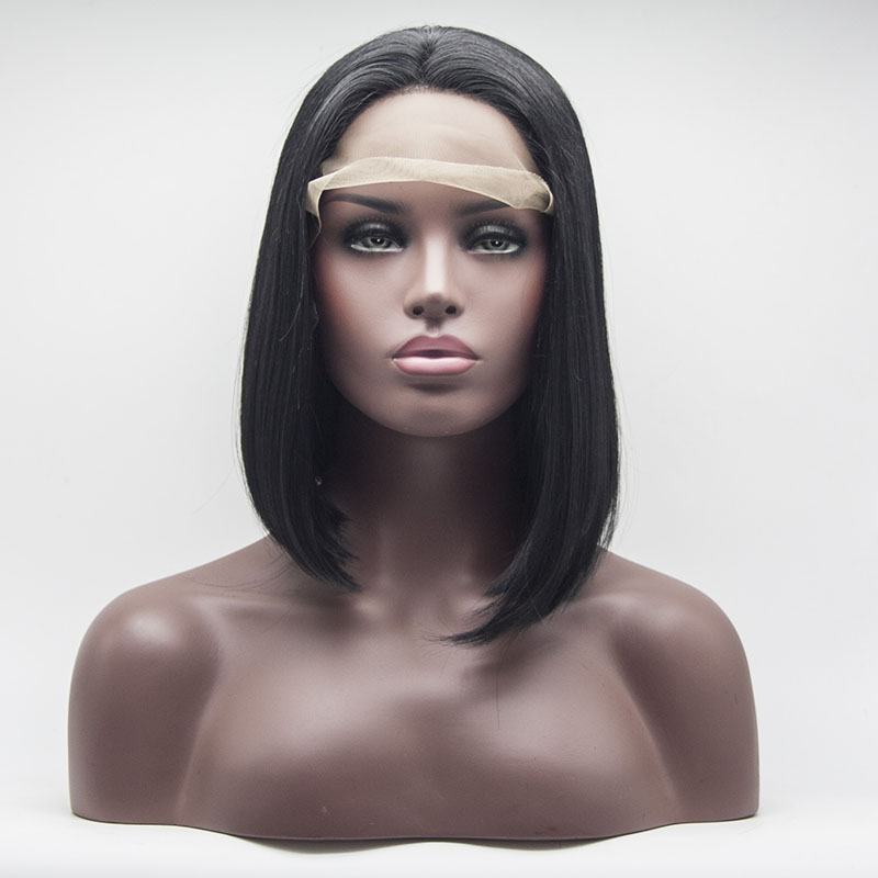 Synthetic Lace Front Bob Wig Short Heat Resistant Fiber 14inches Classic Natural Black Lace Frontal Bob Wigs For Women