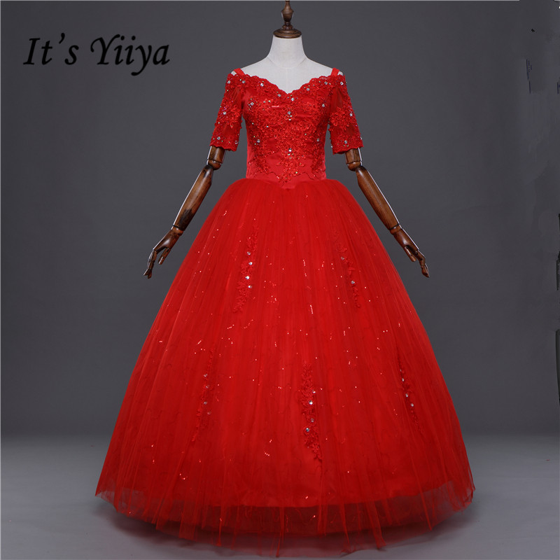 Free Shipping Real Photo Bling Boat Neck Lace Half Sleeves Wedding Dresses Princess White Bride Frocks Plus Size Y20