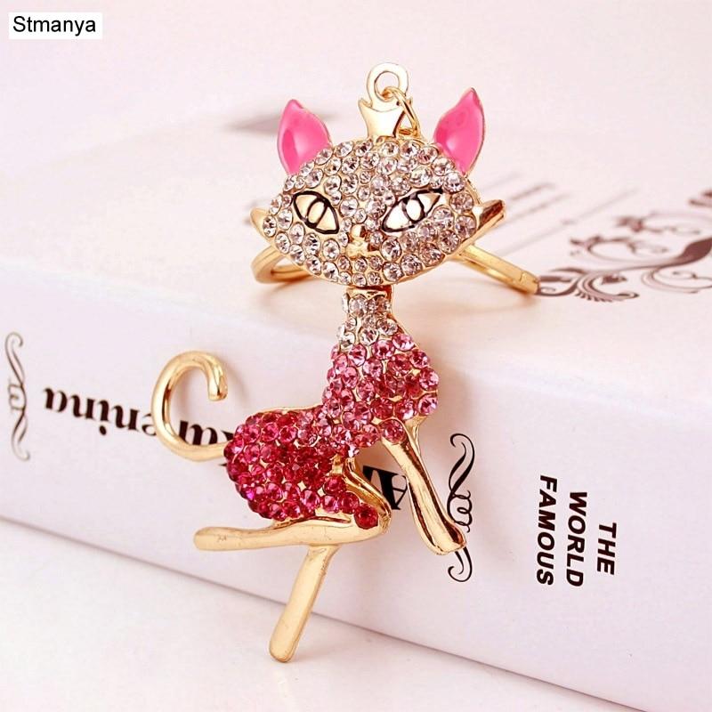 Cat Keychain - High Quality Rhinestones Sexy Cat Key Chain Car Key Ring Bag Pendant For Birthday Gift Keychains Jewelry K1580