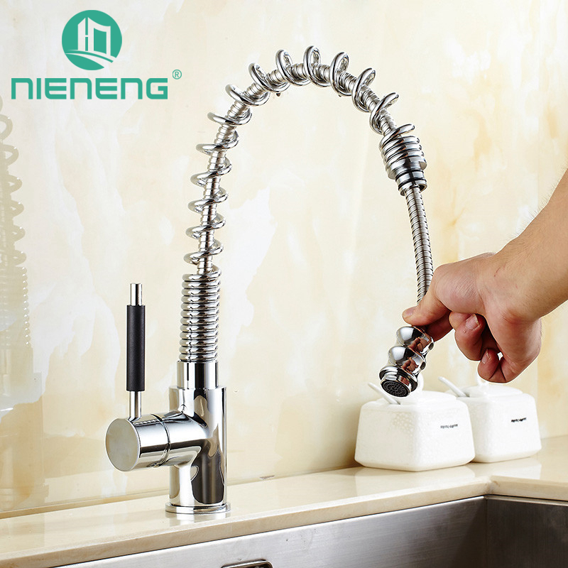 Nieneng Pull Out Kitchen Faucet 360 Degree Rotating Brass Spring Taps Kitchen Sink Tools Tap Mixer Accessories ICD60408 new arrival pull out kitchen faucet chrome black sink mixer tap 360 degree rotation kitchen mixer taps kitchen tap