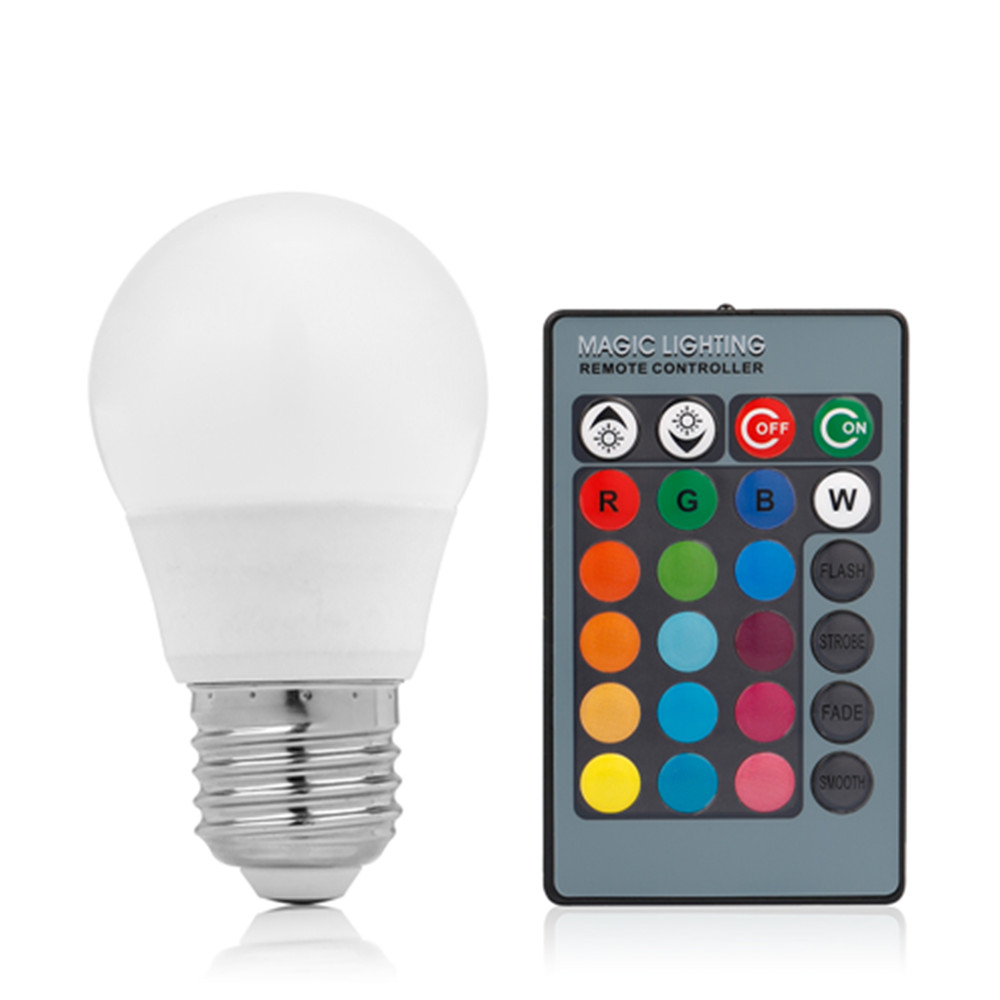 OSIDEN E27 16 Colors Changing Dimmable 3W RGB LED Light Bulb + 24key IR Remote Controller for Home Decoration/Bar/Party led rgb globe bulb e27 e14 3w ac 85 265v 16 colors changing magic light 24key ir remote control home night lighting led bulb