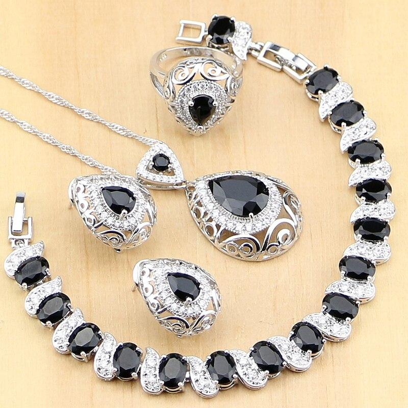 925 Sterling Silver Jewelry Black Stone White CZ Jewelry Sets For Women Earrings Pendant Rings Bracelet Necklace Set все цены