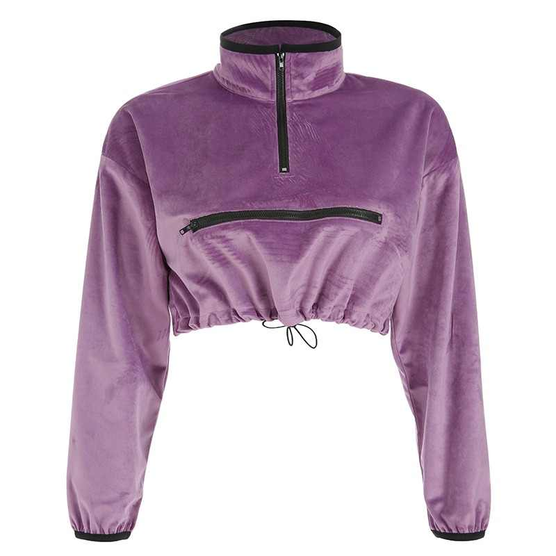b32d9f1c01d41 Weekeep Cropped Velvet Turtleneck Sweatshirt Women Zipper Long Sleeve  Pullover Hoodies Streetwear Spring Autumn Hoodie Crop