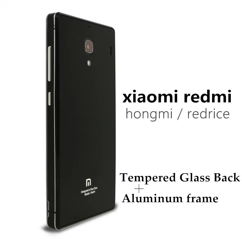 wholesale dealer 2c11a b5ded US $7.99 |Xiaomi redmi 1s case Luxury Aluminum Metal frame Tempered Glass  Back Cover Case for Xiaomi Red Rice 1 1S Redmi Hongmi Phone Bag on ...