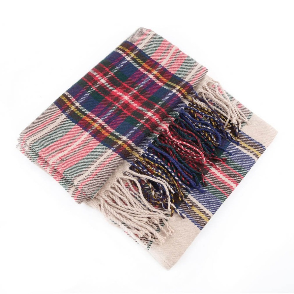 Hewolf NEW Tassels Outdoor Climbing Scarf Blanket Oversized Tartan Scarf Plaid Checked Wrap Shawl Bloggers Favourite Best Gifts