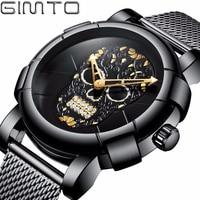 GIMTO Unique Pirate Skeleton Skull Watch Men Diamond Quartz Watch Waterproof Stainless Steel Clock Men Watches