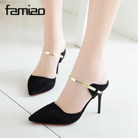 FAMIAO 2018 New Women S High Heels Pumps Sexy Bride Party Thick Heel Pointed Toe Leather