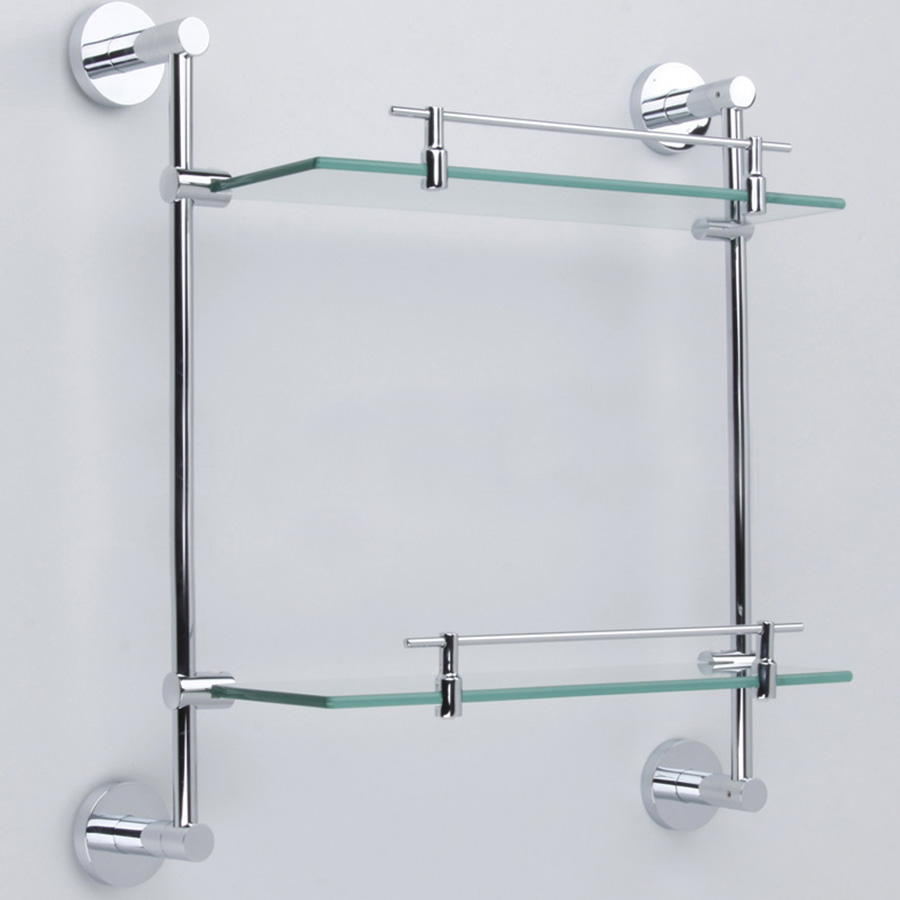 Huici double bathroom shelves glass shelf brass made with - Bathroom accessories glass shelf ...