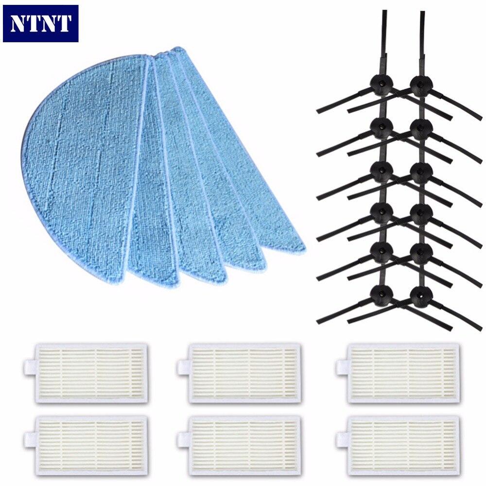 NTNT 12pcs Side Brush 6pair 6pcs Hepa Filter 5pcs Mop Cloth For Chuwi Ilife V5 V3