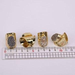 Image 4 - 5 יחידות הטבעי קוורץ רן טבעות סטון, תכשיטי טבעת אבן בנד טיטניום צבע זהב רחב