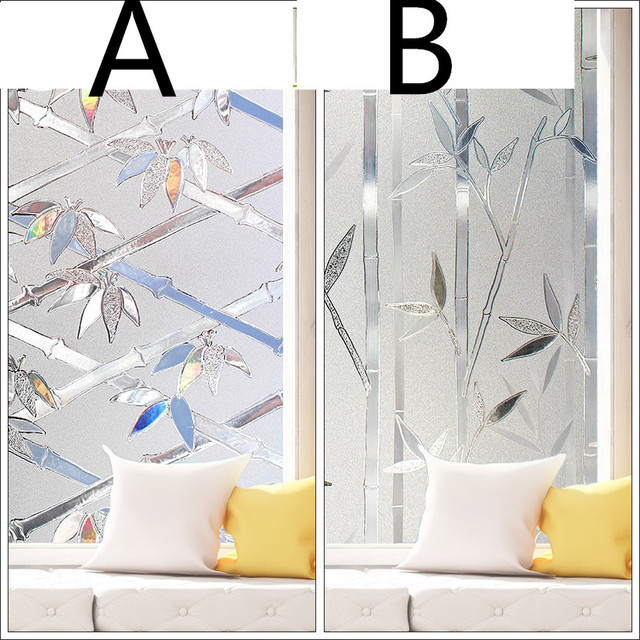 60X100cm 3D Static Glass Film Bathroom Stickers Matte Paste Window Grill Sunscreen Bamboo Section
