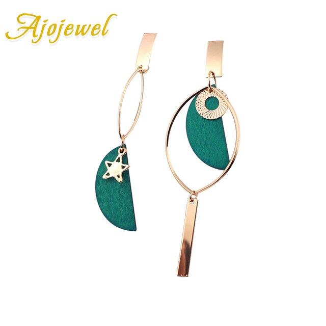 Ajojewel Asymmetrical Green Wooden Earrings Geometric Statement Earrings 2018 Wo