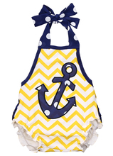 Newborn Baby Girl Summer Clothes Anchors Halterneck Backless Polka Dot Bodysuit Jumpsuit Set