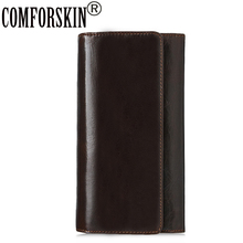 COMFORSKIN Brand Luxurious 100% Genuine Leather Large Capacity Mens Wallets 2017 Long Retro Design Three-fold Man Clutch Purse