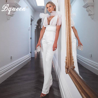 Bqueen 2019 New Sexy Deep V Neck Sleeveless Backless Lace Bow Women Mesh Front Long Pants Party Bodycon Rompers Jumpsuit