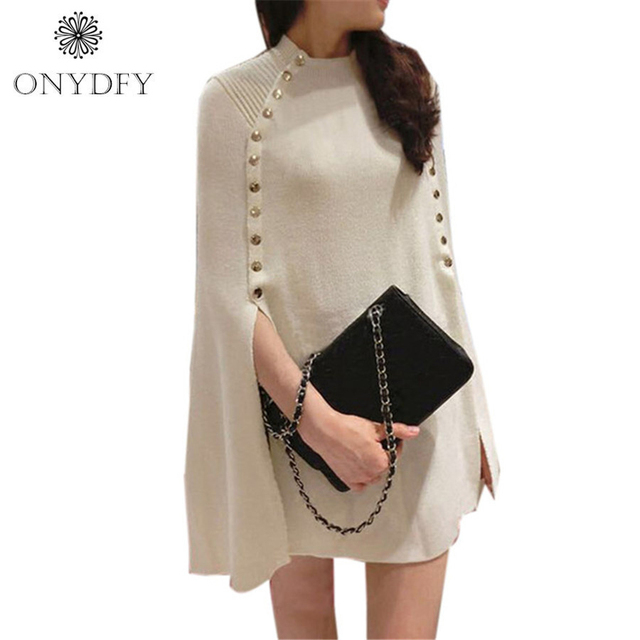2017 New Fashion Winter Autumn Overeized Poncho Sweater Women Single Breasted Brand Knitted Sweaters and Pullovers Pull Femme