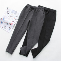 Autumn Winter Women Ankle Length Pant New Warm Thick Woolen Harem Pants Female Elastic Waist Trousers Loose Casual Pant AB693