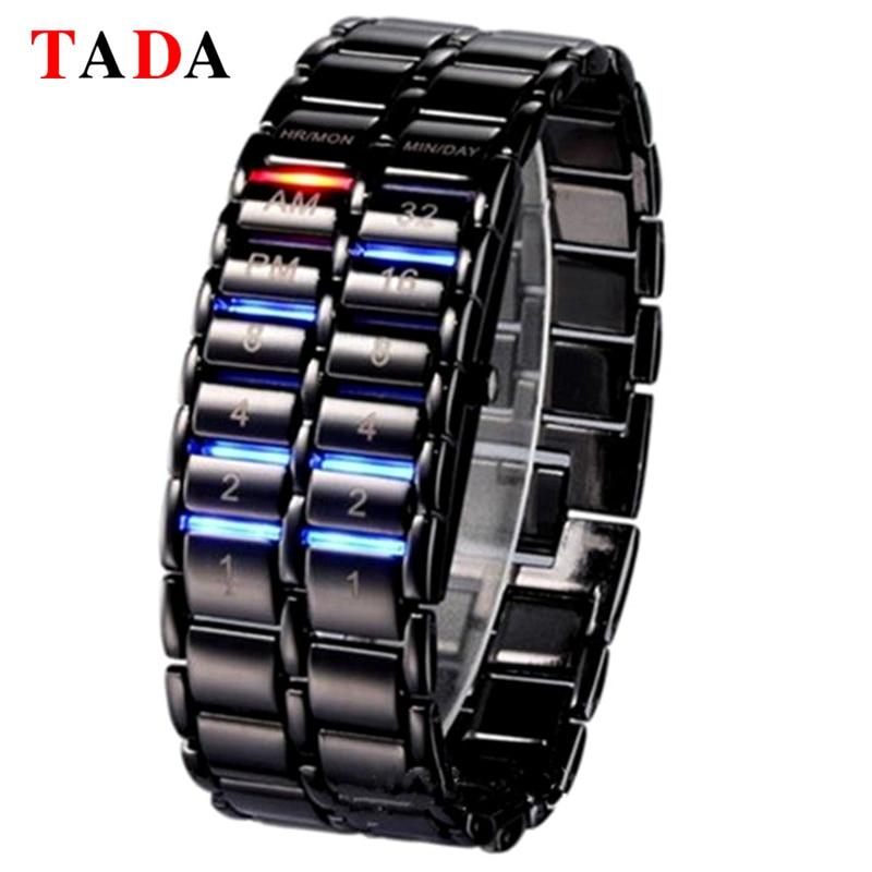 лучшая цена New Luxury Lava Clock Hours TADA electronic second generation Binary Systen LED watches mens wrist watch