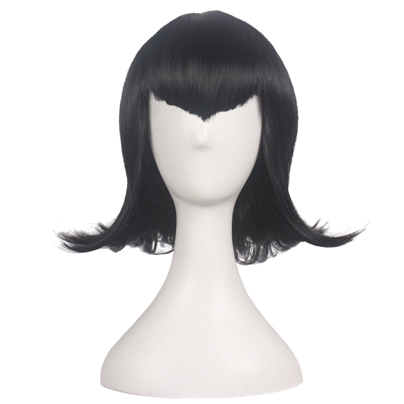 Hotel Transylvania 2 Mavis Cosplay Wig Women Mavis Black Hair Wig Costume With Free Hair Cap
